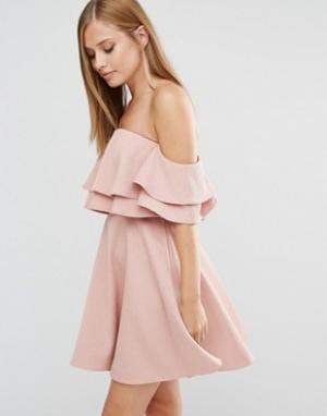 Keepsake Платье мини с двойной драпировкой. Цвет: розовый