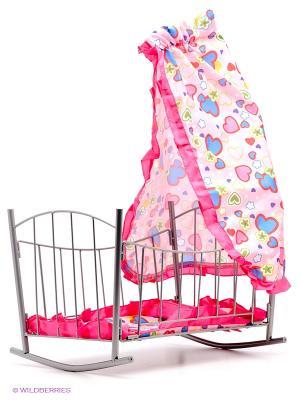 Кроватка для кукол Mami. Цвет: розовый, серебристый