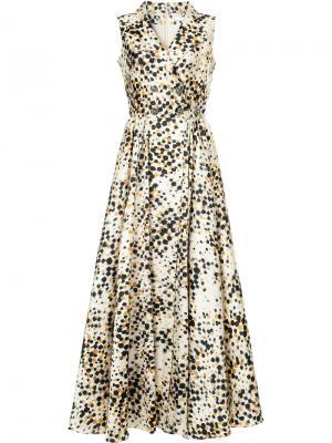 Платье с запахом в горох Alexis Mabille. Цвет: многоцветный