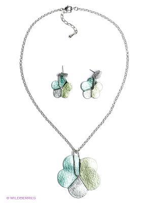 Комплект Fiore Lune. Цвет: серебристый, зеленый, светло-зеленый
