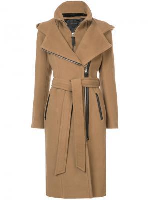 Пальто с капюшоном Mackage. Цвет: коричневый