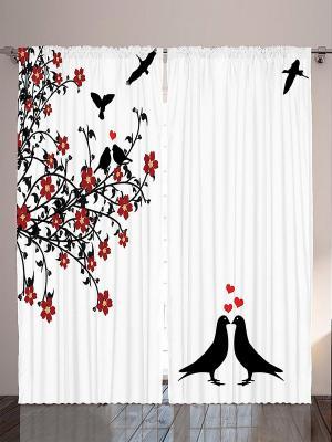 Комплект фотоштор Чёрные голуби, красные цветы, ветки и листья на белом фоне , 290*265 см Magic Lady. Цвет: белый, черный