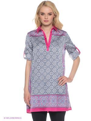 Платье Oodji. Цвет: фуксия, белый, серо-голубой, голубой
