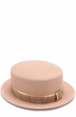 Фетровая шляпа Auguste с лентой Maison Michel. Цвет: светло-бежевый