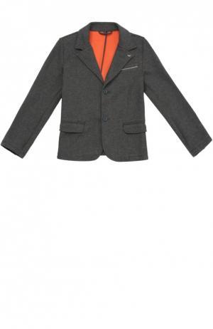 Однобортный пиджак из эластичного хлопка Giorgio Armani. Цвет: серый