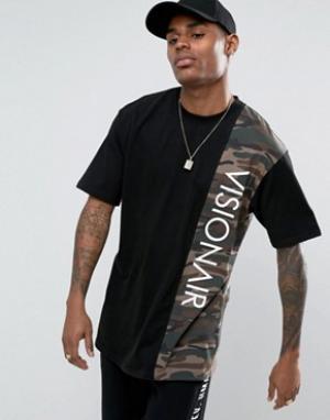 Vision Air Черная футболка с камуфляжной вставкой Visionair. Цвет: черный
