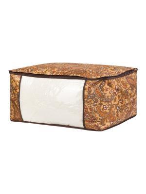 Кофр для хранения одеял и пледов Перо павлина EL CASA. Цвет: коричневый, оранжевый