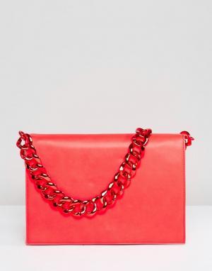 ASOS Однотонная сумка на плечо с массивной цепочкой. Цвет: красный