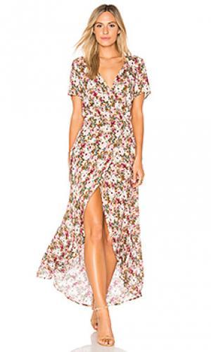 Макси платье с запахом wild rose AUGUSTE. Цвет: rose