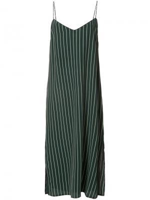 Полосатое платье-камисоль Ganni. Цвет: зелёный