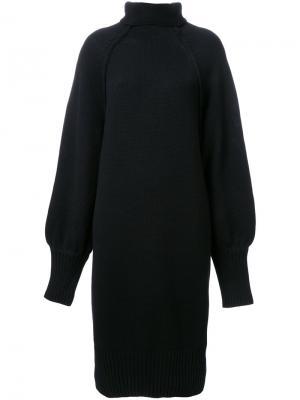 Платье с рельефными швами и воротником-воронкой G.V.G.V.. Цвет: чёрный
