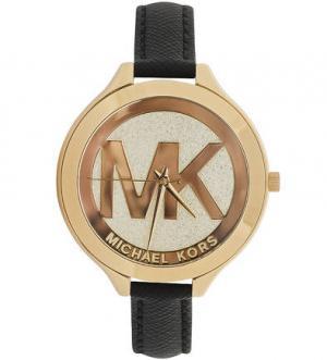 Часы с тонким кожаным браслетом Michael Kors