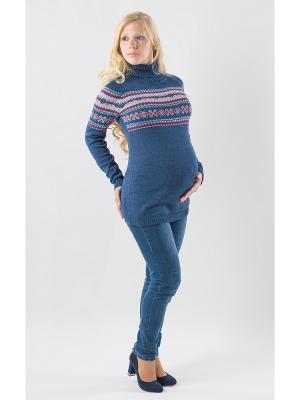 Свитер для беременных Жаккард Мирося. Цвет: синий