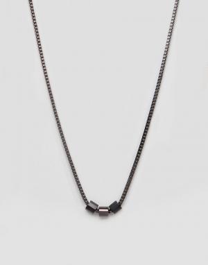 Emporio Armani Ожерелье из нержавеющей стали. Цвет: коричневый
