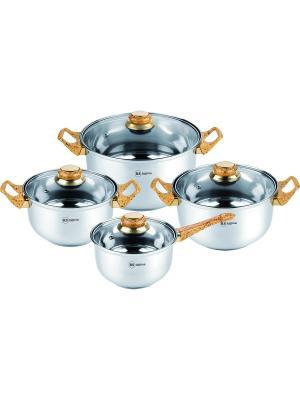 Набор посуды из нержавеющей стали 1,8л/2,7л/3,6л/6,1л. RAINSTAHL. Цвет: серебристый, светло-оранжевый