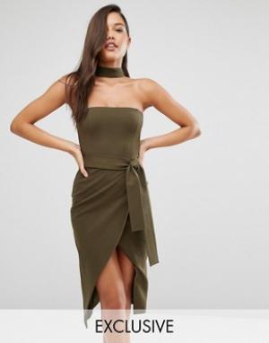 Lavish Alice Платье миди с горловиной‑чокер и завязывающимся поясом. Цвет: зеленый