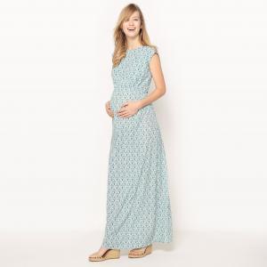 Платье длинное для периода беременности из вискозы, красивый бантик сзади R essentiel. Цвет: рисунок/зеленый