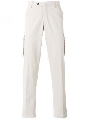 Классические брюки-чинос Borrelli. Цвет: телесный