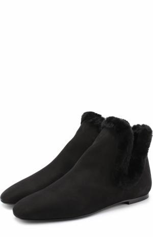 Замшевые ботинки с внутренней меховой отделкой The Row. Цвет: черный
