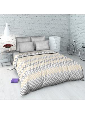 Комплект постельного белья из бязи 2 спальный Василиса. Цвет: бежевый, серый