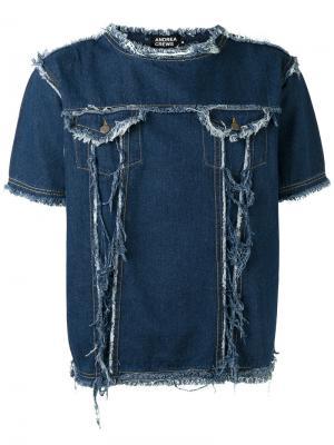 Джинсовая футболка с бахромой Andrea Crews. Цвет: синий