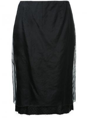 Прямая двухслойная юбка Zambesi. Цвет: чёрный