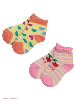 Носки, 2 пары MilanKo. Цвет: желтый, розовый