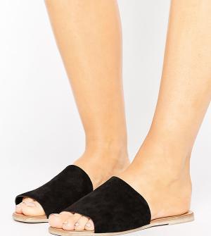 New Look Wide Fit Замшевые сабо на плоской подошве для широкой стопы. Цвет: черный