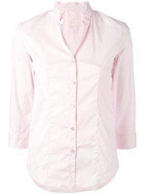 Рубашка с узким воротником-стойкой Xacus. Цвет: розовый и фиолетовый