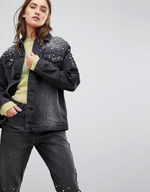 Chorus Джинсовая оверсайз-куртка с искусственным жемчугом. Цвет: черный