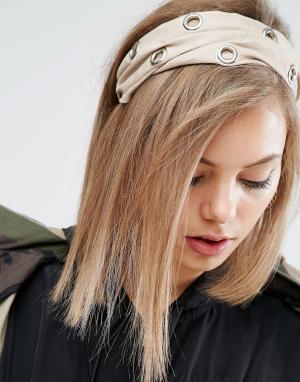ASOS Повязка на голову с люверсами. Цвет: кремовый