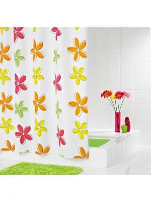 Штора для ванных комнат Fleur оранжевый 180*200 RIDDER. Цвет: малиновый, белый, оранжевый