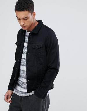 Just Junkies Джинсовая куртка с подкладкой из искусственного меха. Цвет: черный