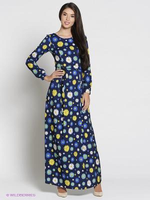Платье Colambetta. Цвет: синий, бирюзовый, желтый, белый