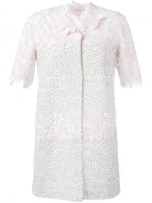 Пальто с короткими рукавами и цветочным рисунком Giambattista Valli. Цвет: розовый и фиолетовый