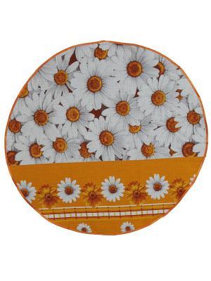 Полотенце круглое с петелькой Римейн. Цвет: оранжевый,белый