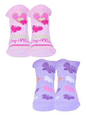 Носки, 2 пары Malerba. Цвет: фиолетовый, розовый