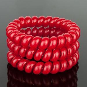 Комплект Резинок-Пружинок для волос 3 шт/уп, арт. РПВ-316 Бусики-Колечки. Цвет: красный
