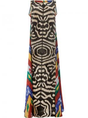 Платье макси с принтом зебра Afroditi Hera. Цвет: многоцветный