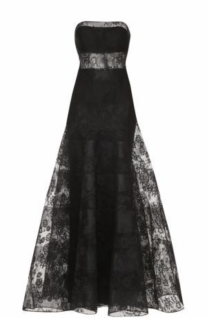 Приталенное кружевное платье-бюстье Basix Black Label. Цвет: черный