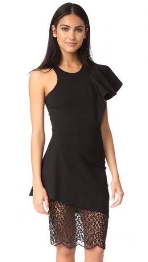 Платье с оборками, кружевом и спиной-борцовкой Michelle Mason. Цвет: голубой