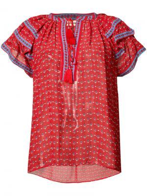 Блузка с V-образным вырезом оборками Ulla Johnson. Цвет: красный