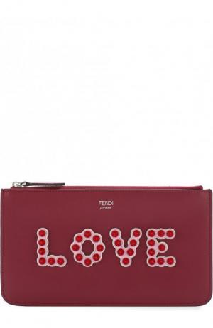 Кожаный футляр на молнии с заклепками Fendi. Цвет: бордовый