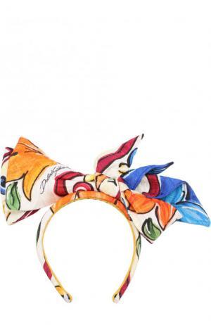Ободок из смеси хлопка и шелка с бантом Dolce & Gabbana. Цвет: разноцветный