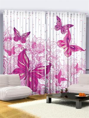 Комплект фотоштор для гостиной Розовые бабочки, плотность ткани 175 г/кв.м, 290*265 см Magic Lady. Цвет: фиолетовый, черный