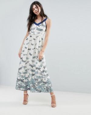 Uttam Boutique Платье макси с принтом стрекоз. Цвет: синий