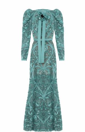 Платье-макси с вышивкой и рукавом-фонарик Elie Saab. Цвет: голубой