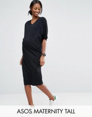 ASOS Maternity Платье-футболка миди для беременных с рукавами в стиле кимоно Mat. Цвет: черный
