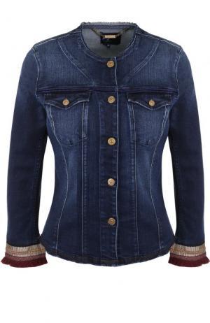 Джинсовая куртка с укороченным рукавом и потертостями 7 For All Mankind. Цвет: синий