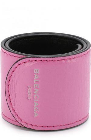 Кожаный браслет Balenciaga. Цвет: розовый